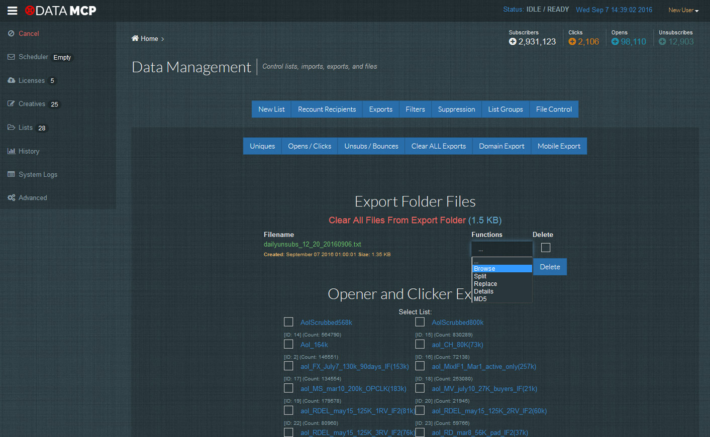 List Management Exporting
